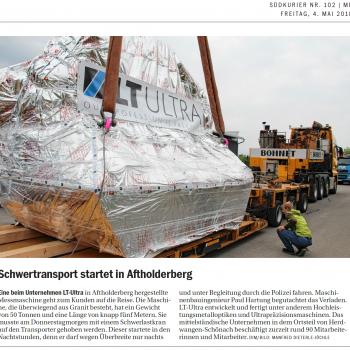 Schwertransport startet in Aftholderberg - LT Ultra