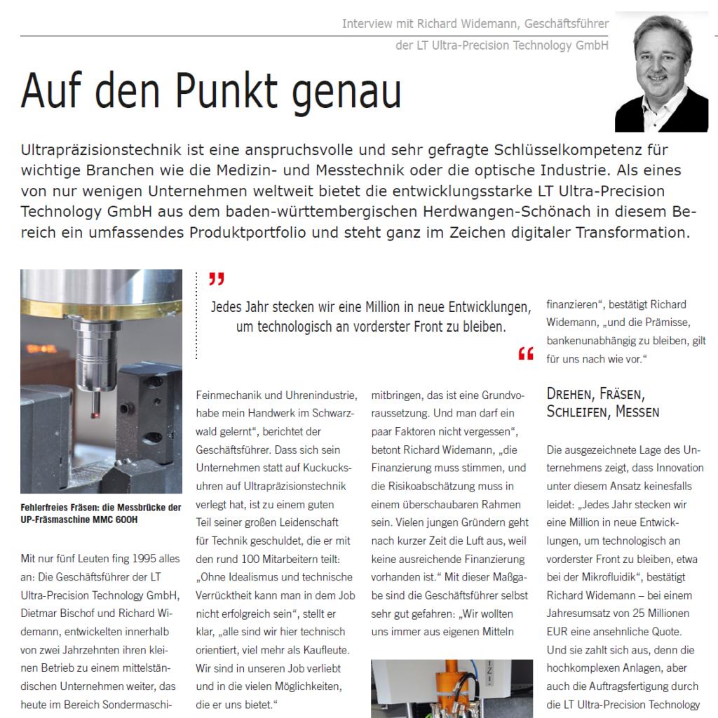 Artikel: Auf den Punk genau (Wirtschaftsforum) - Interview mit Richard Widemann